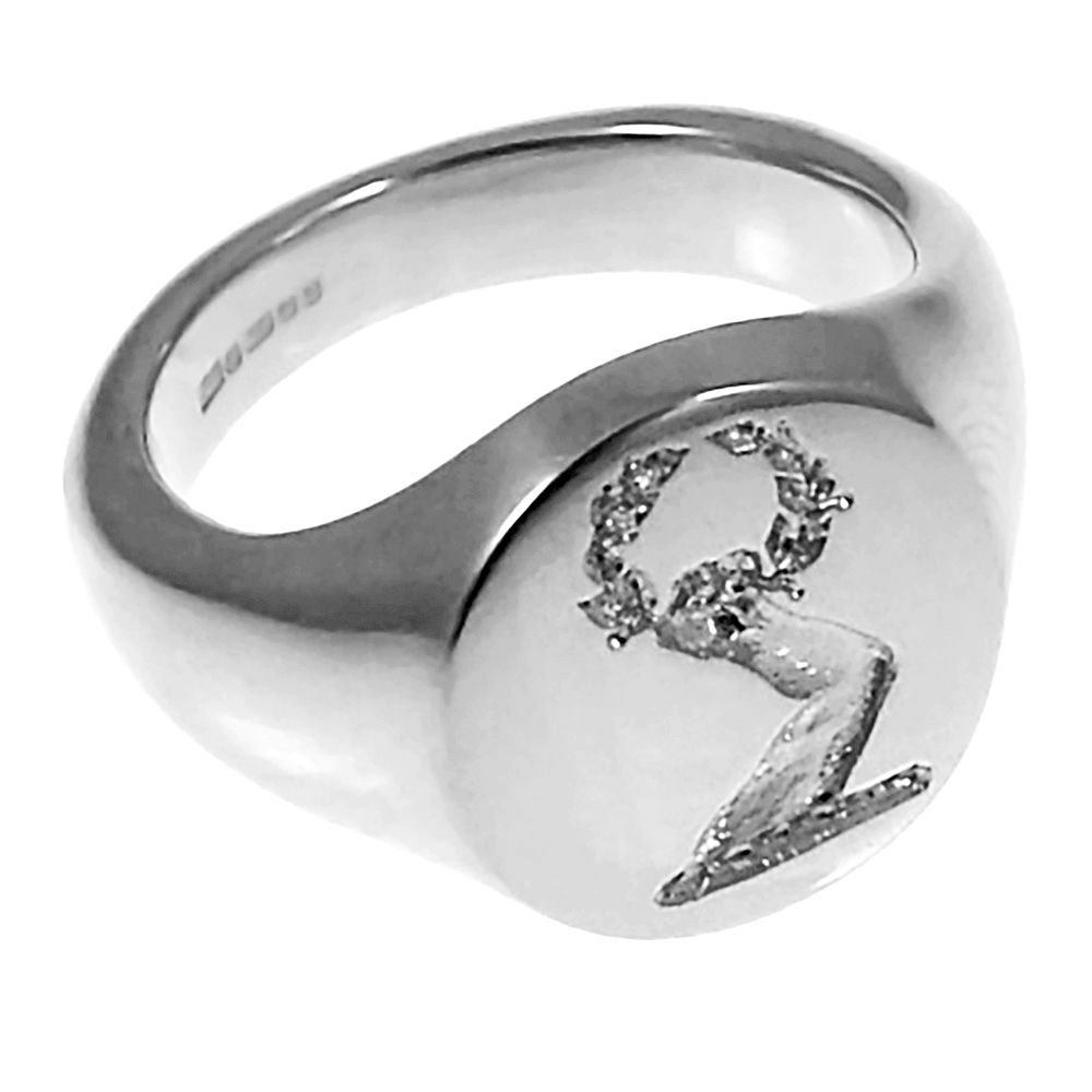 925 Sterling Silver 13mm Round Family Crest Signet Rings