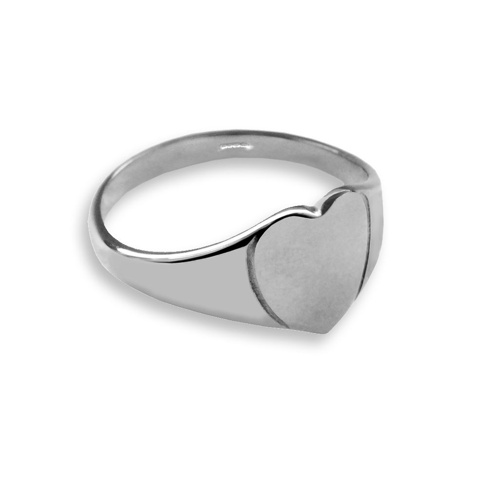 925 Silver Child's Plain Heart Shaped Signet Rings 8 x 8mm