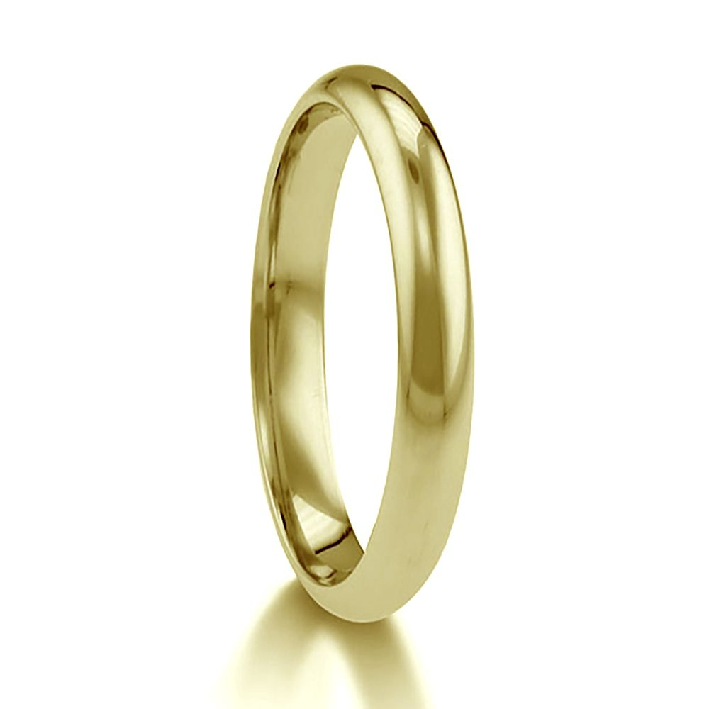 2mm 9ct Yellow Gold Paris Profile Wedding Rings Bands