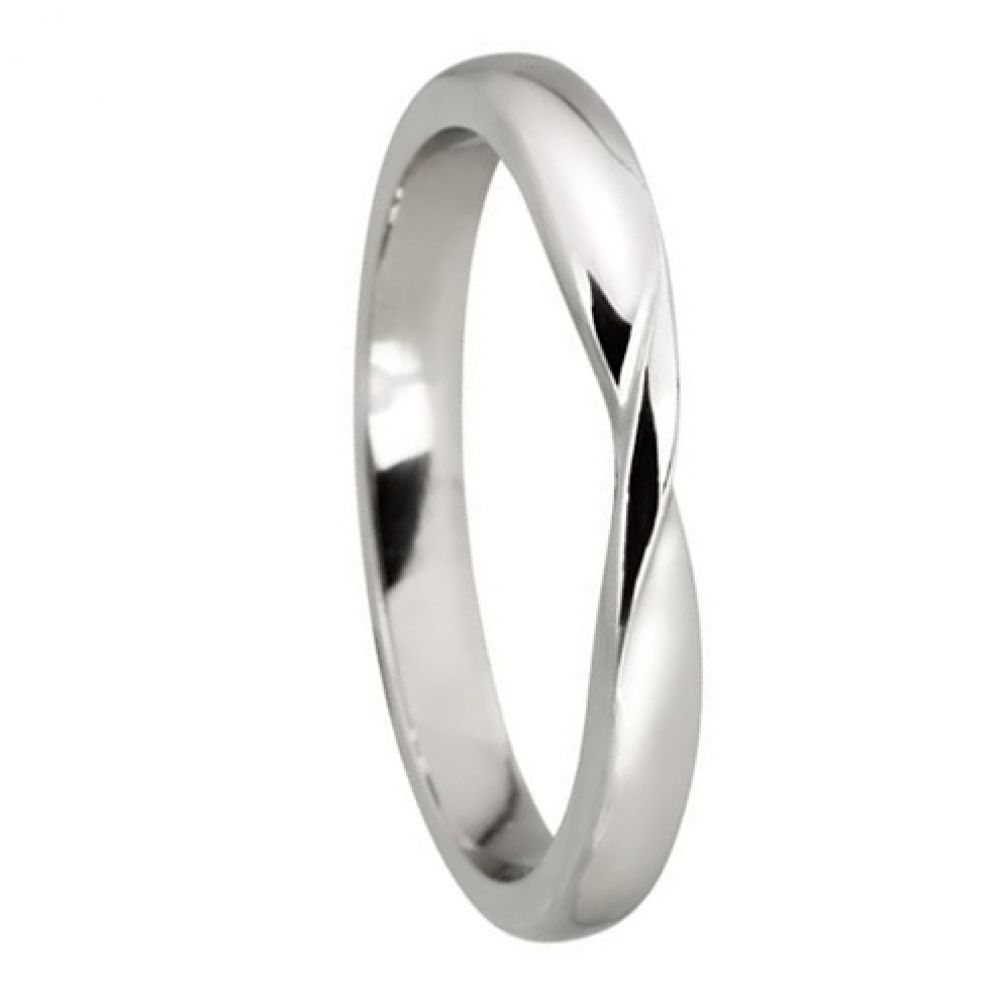 950 Platinum Ribbon Twist Wedding Rings Bands D Profile