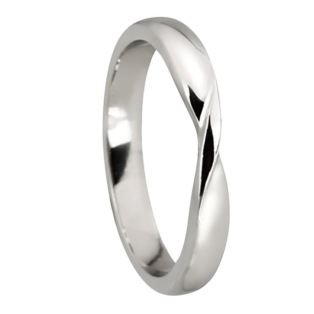 925 Silver Ribbon Twist Wedding Rings Bands D Profile