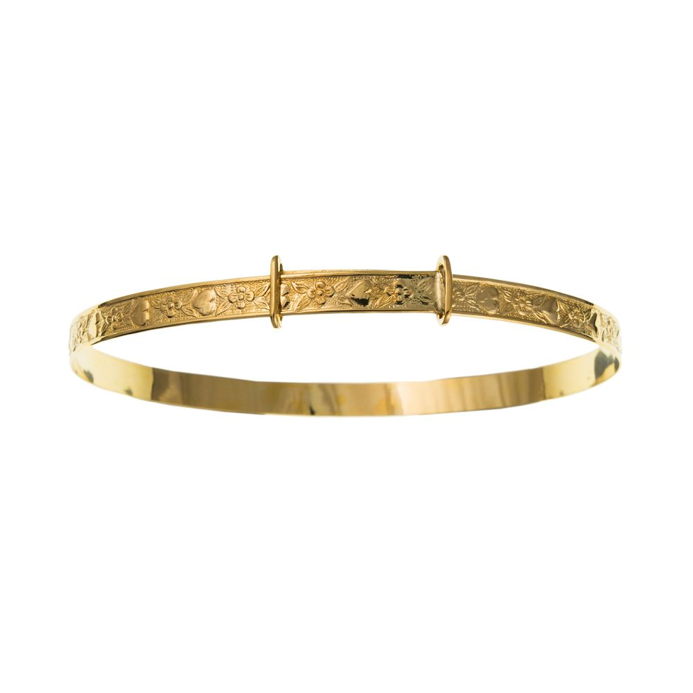 9ct Yellow Gold Ladies Hearts & Flowers Patterned Expanding Bangle
