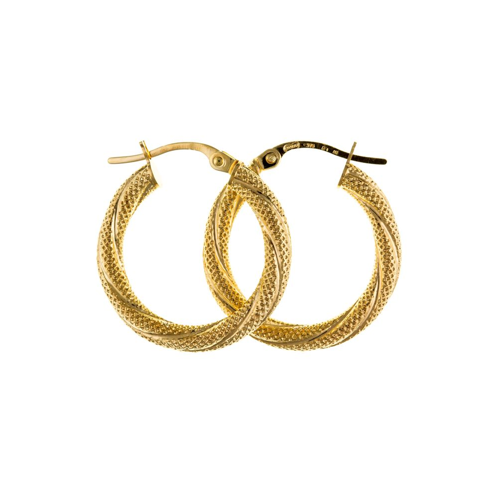 9ct Yellow Gold Textured Twist Creole Earrings With Lever Catches