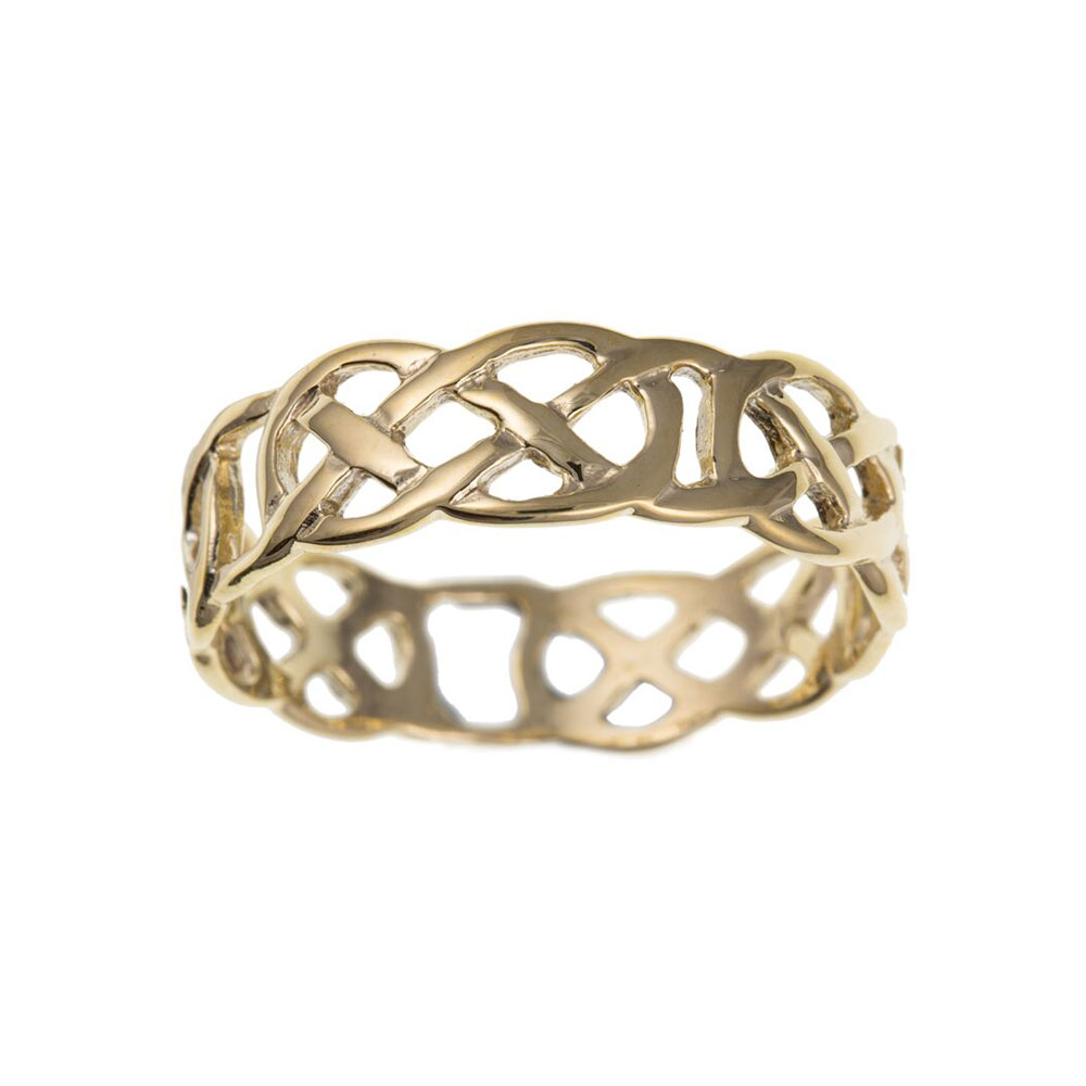 9ct Yellow Gold Celtic Style Ladies Ring 8mm