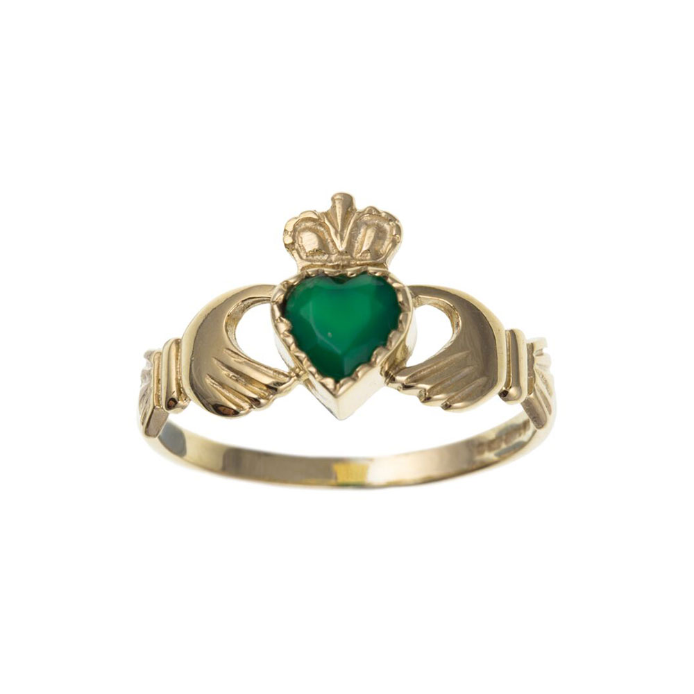 9ct Yellow Gold Green Agate 10mm Claddagh Dress Ring