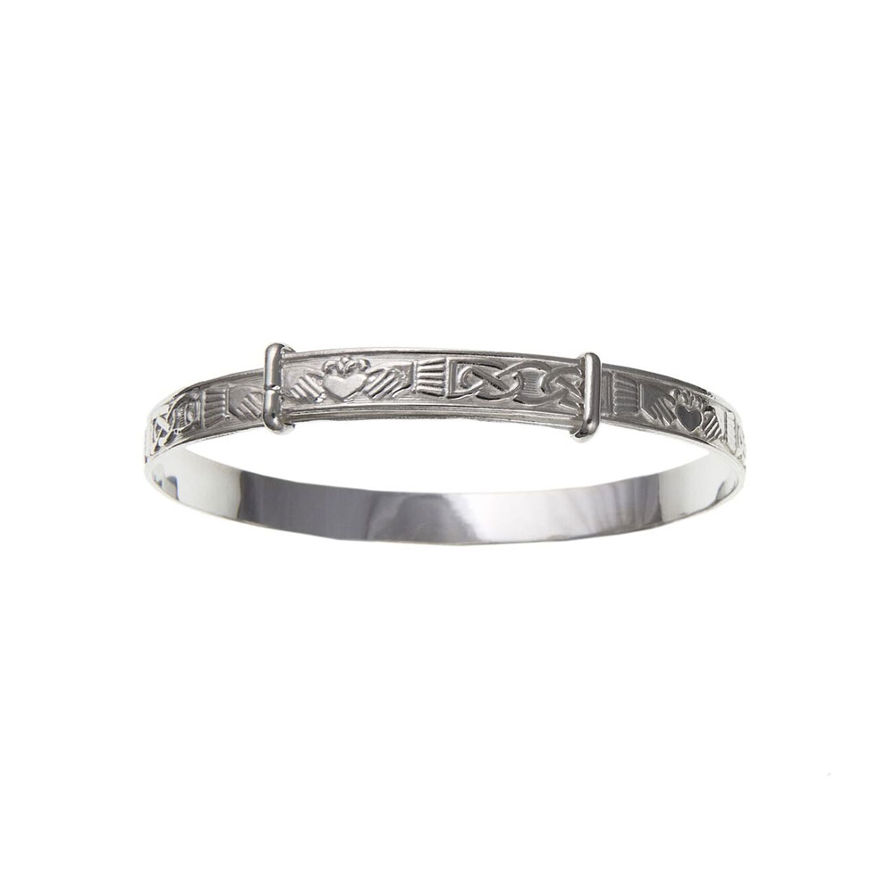Sterling Silver 5mm Claddagh Expanding Bangle Woman's / Child's / Babies UK 925 HM
