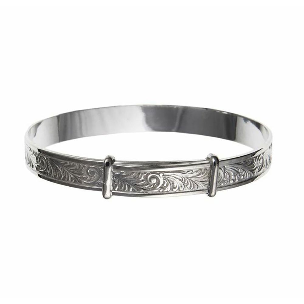 925 Sterling Silver 6mm Engraved Expanding Bangle Woman's / Child's / Babies UK HM