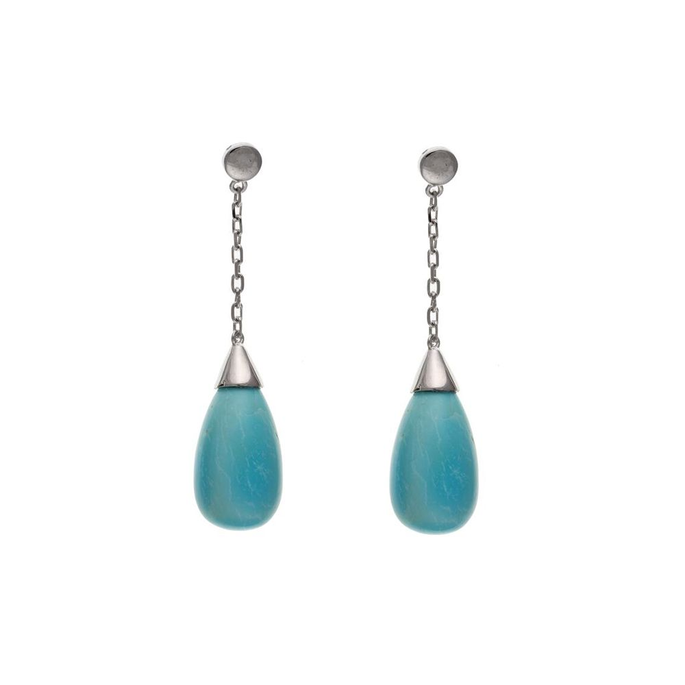 925 Sterling Silver And Turquoise Drop Earrings