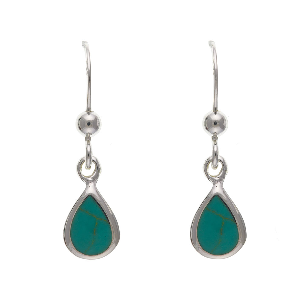925 Sterling Silver Real Turquoise 21mm Drop Earrings