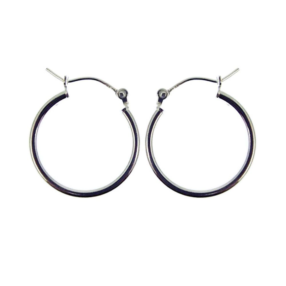 24mm 925 Sterling Silver Creole Earrings With Lever Catches