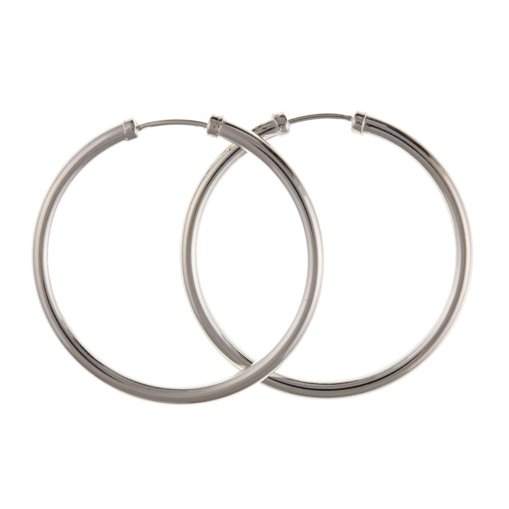 925 Sterling Silver 25 - 70 x 2mm Hoop Earrings