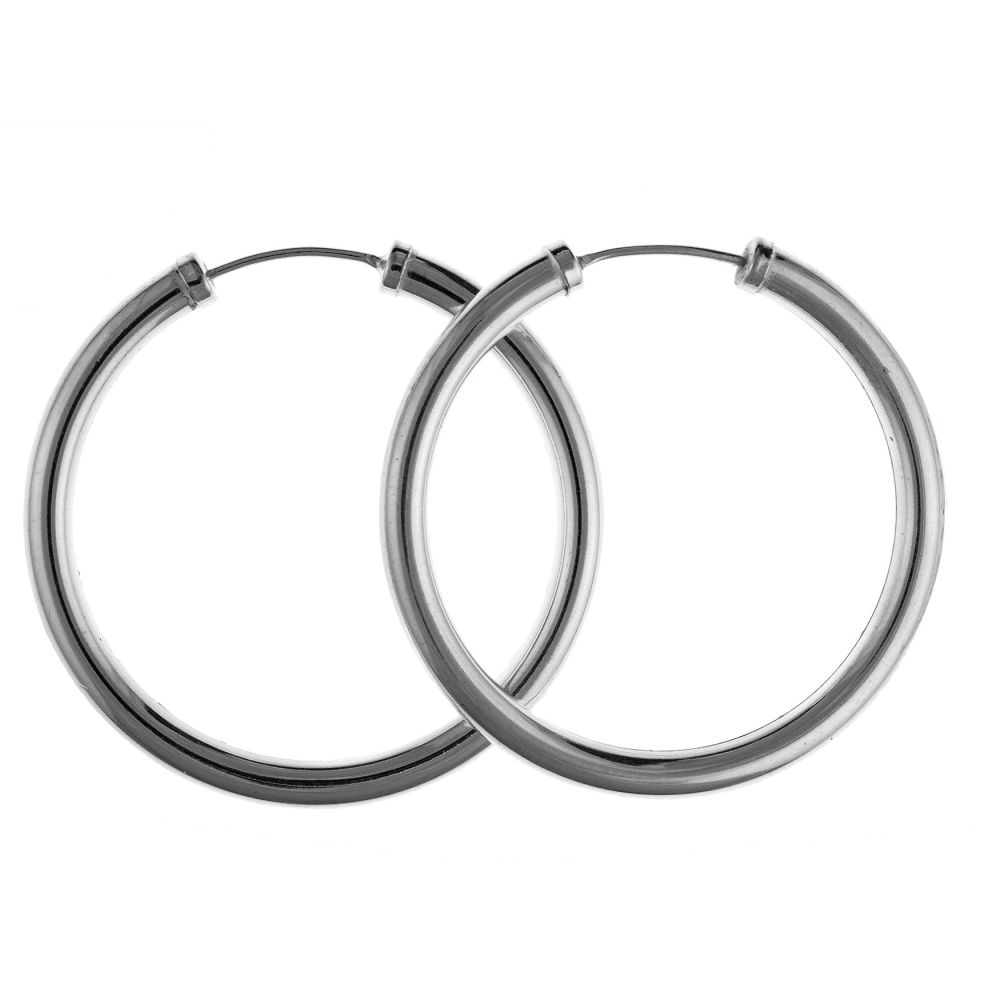 925 Sterling Silver 45 & 60x3mm Chunky Hoop Earrings