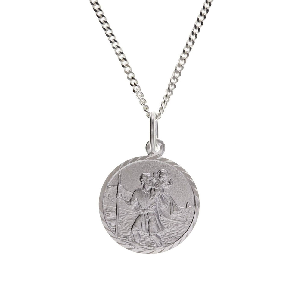 "925 Sterling Silver St Christopher Pendant 17 x 17mm with 18"" Hanging Chain"