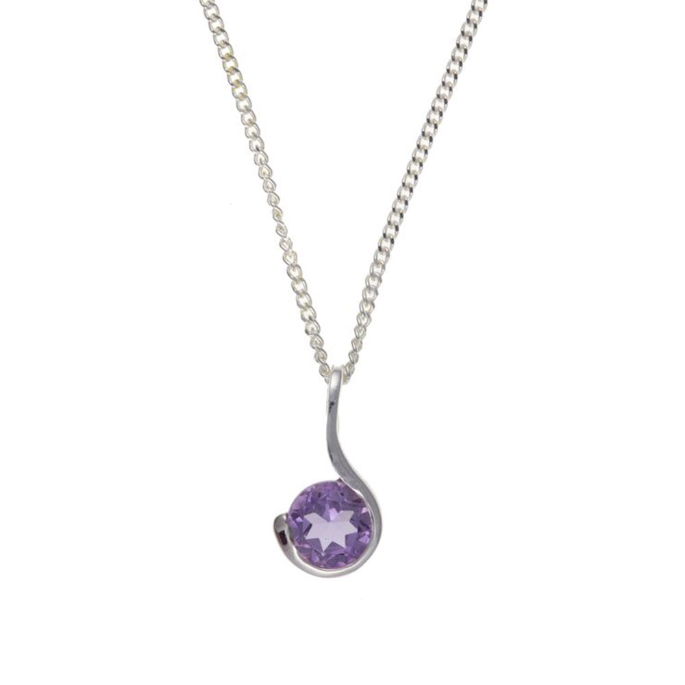 925 Sterling Silver Real Amethyst 12mm Pendant with Chain