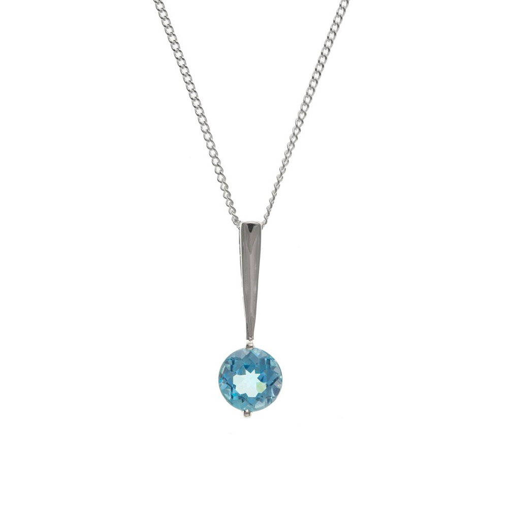 925 Sterling Silver Real Blue Topaz 20mm Pendant with Chain