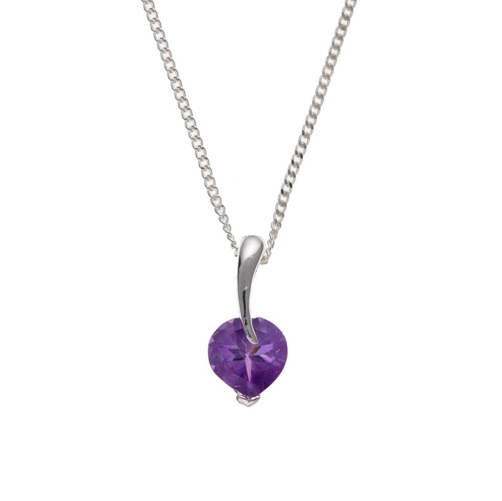 925 Sterling Silver Real Amethyst 14mm Pendant with Chain