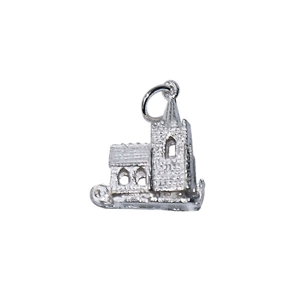 925 Sterling Silver Opening Old Church Charm 3.1g
