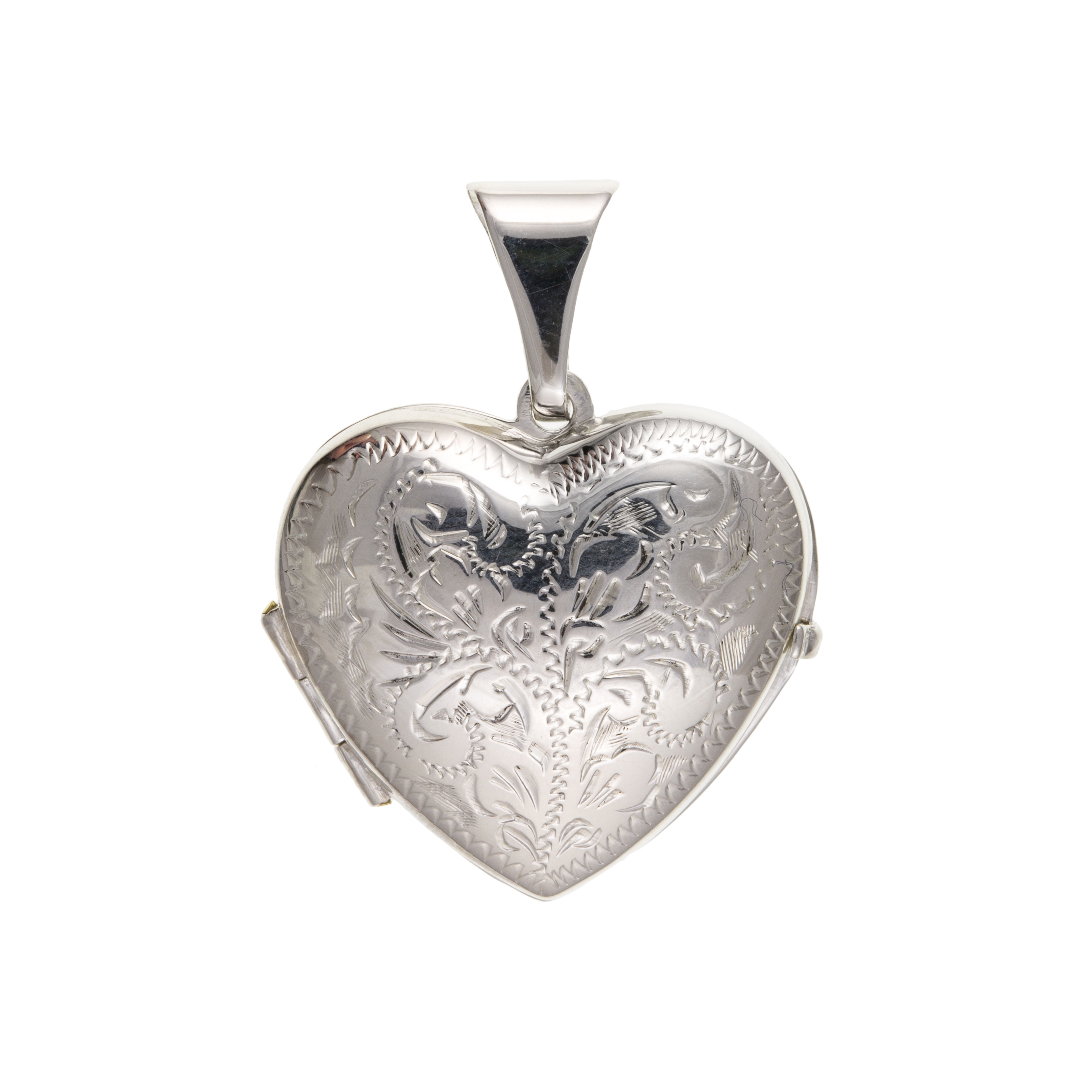 925 Sterling Silver Engraved Heart Locket 25 x 20mm