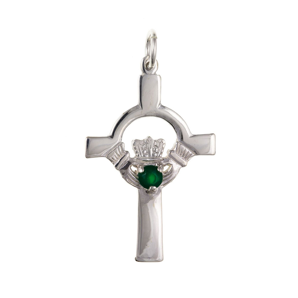 925 Sterling Silver Claddagh and Green Agate Cross 38 x 20mm with Optional Hanging Chain