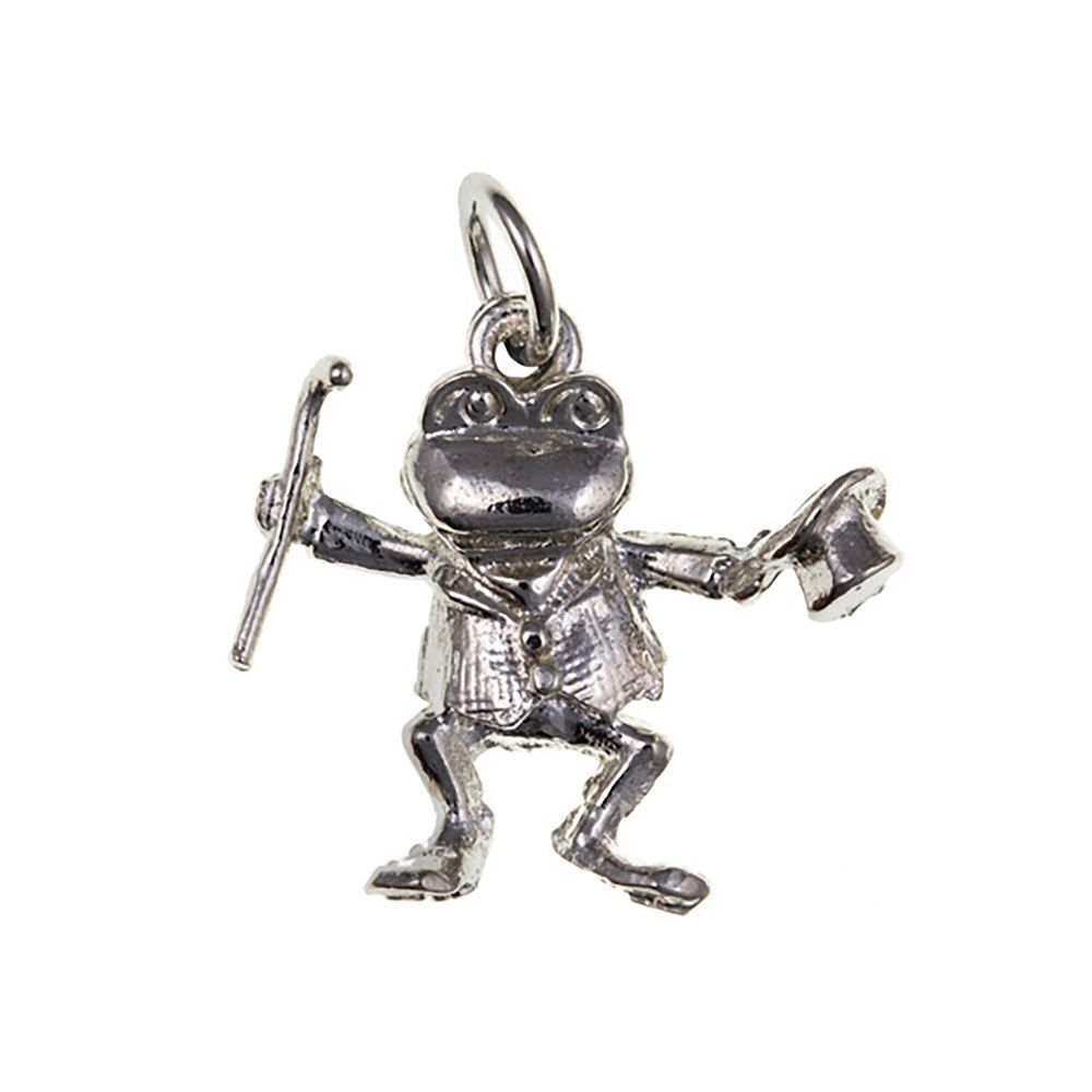 925 Sterling Silver 3D Dancing Frog Charm 1.8g
