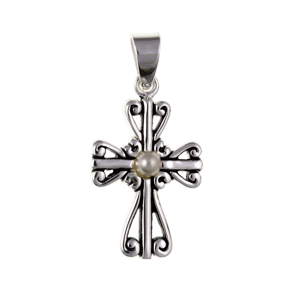 925 Sterling Silver and Pearl Cross 25 x 15mm with Optional Hanging Chain