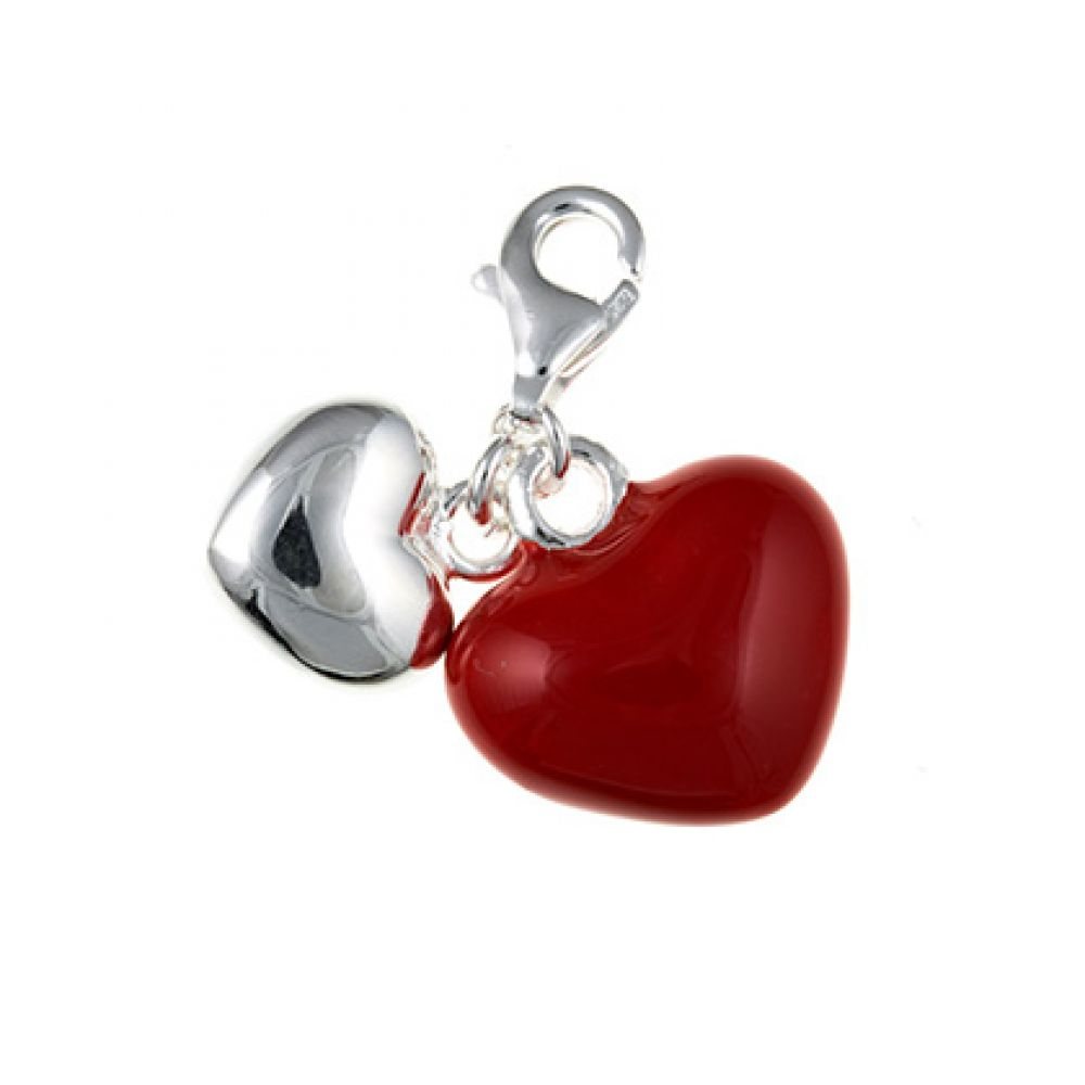 Sterling Silver Inlayed Hearts Charm