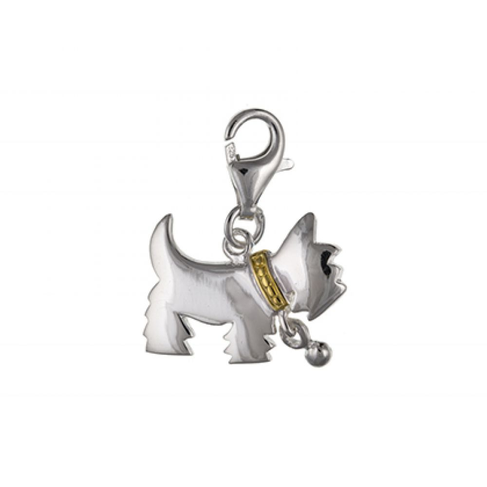 Sterling Silver Inlayed Westie Charm