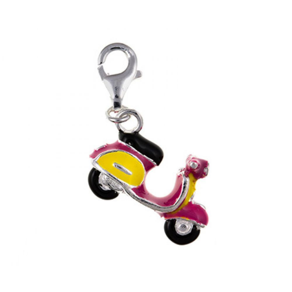Sterling Silver Inlayed Vespa Scooter Charm