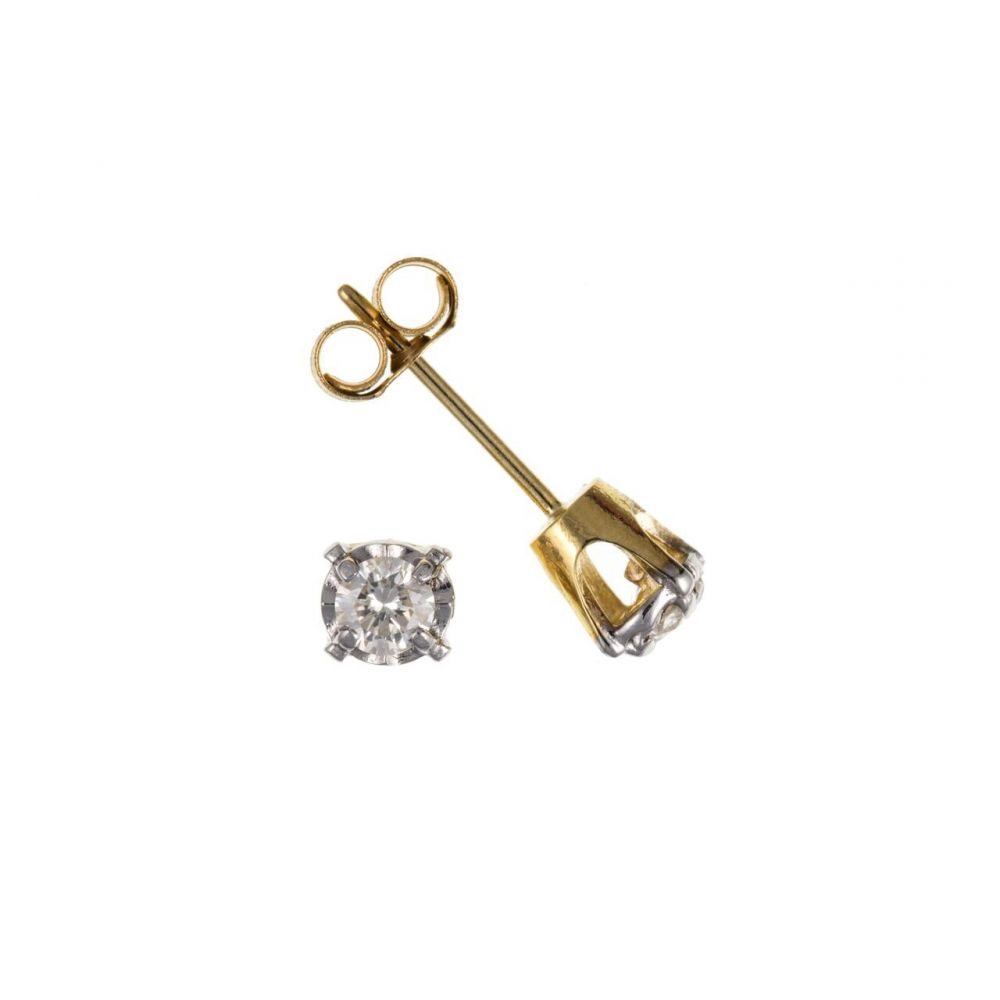 9ct Men's Yellow Gold Single Stud with Claw Set 0.05ct Diamond UK Made
