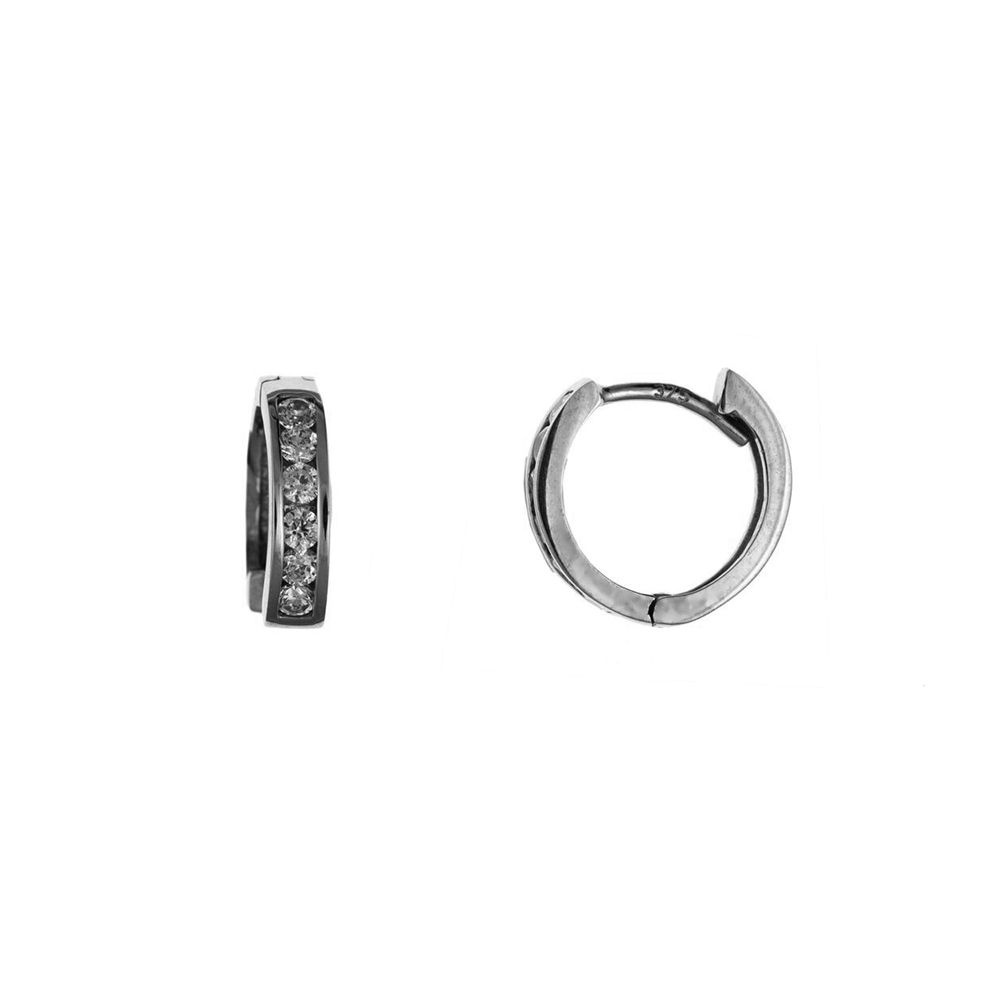 9ct White Gold Men's CZ Stone Set Huggie Earring
