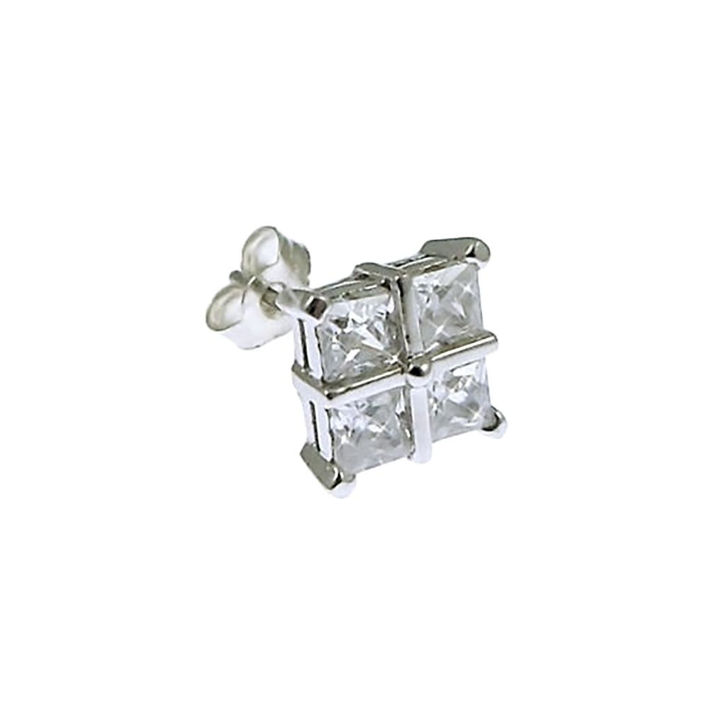 9ct White Gold & Four Stone CZ Stud Earring