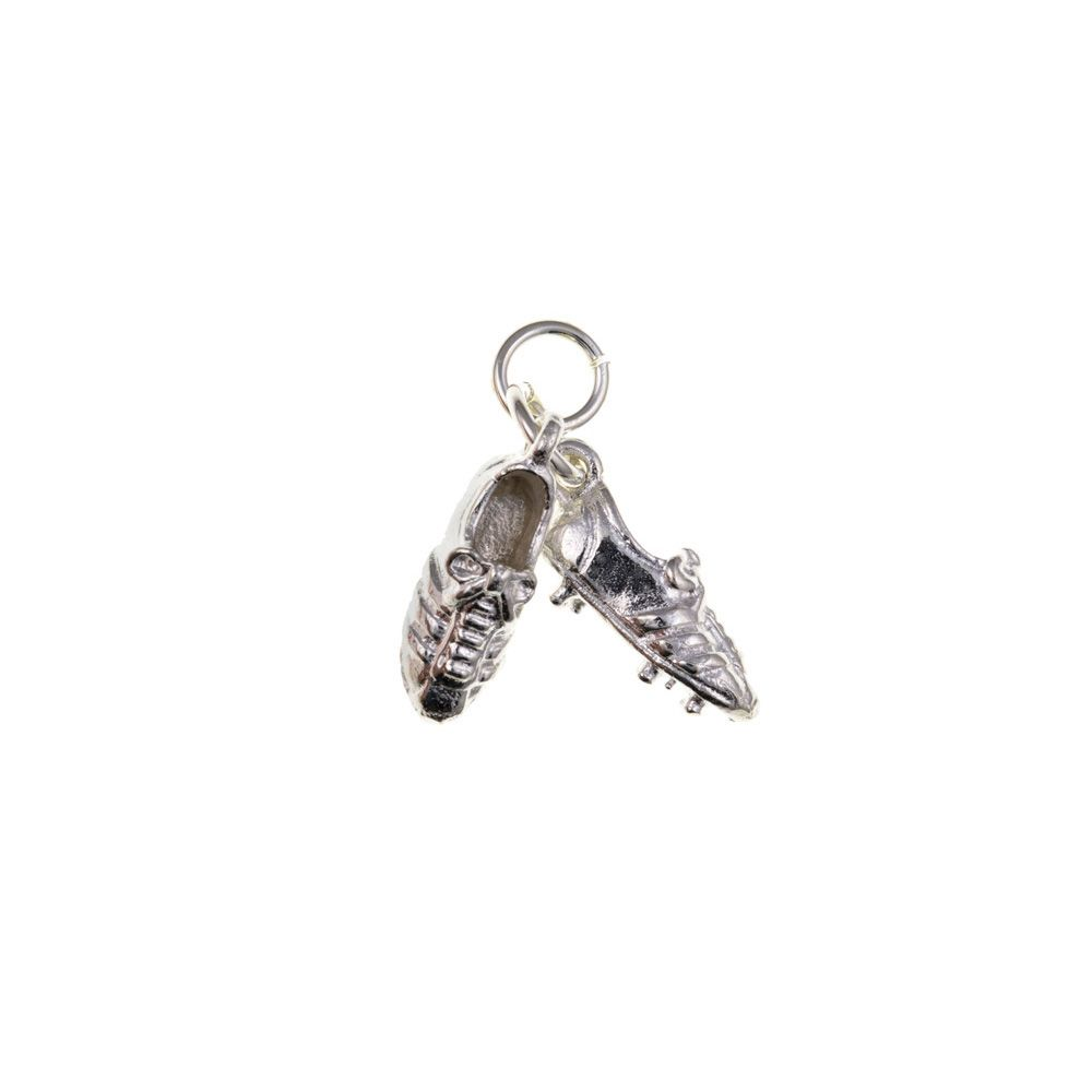 925 Solid Sterling Silver 3D Football Boots Charm