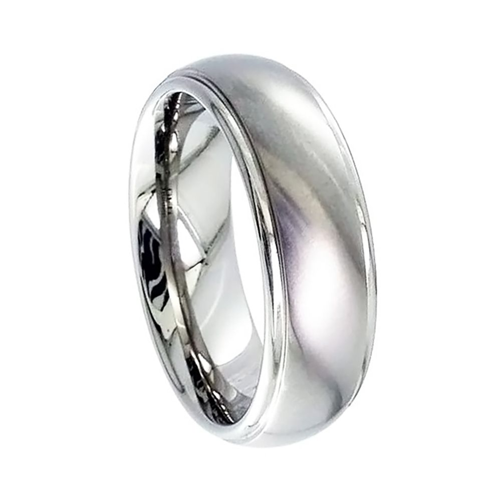 Titanium Court Comfort Shaped Wedding Ring With Grooved Shoulders