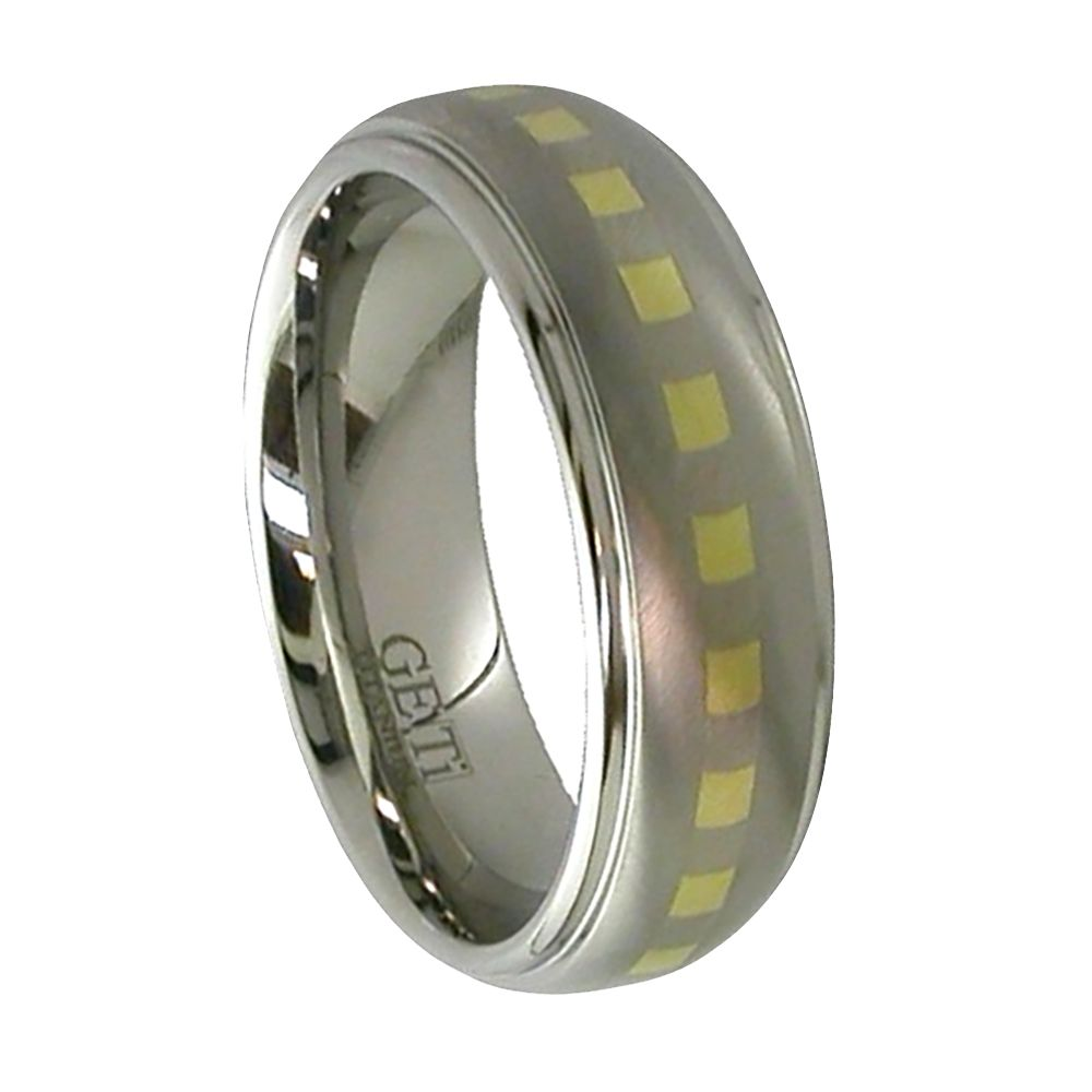 Shoulder Cut Titanium Ring With 9ct Check Inlay