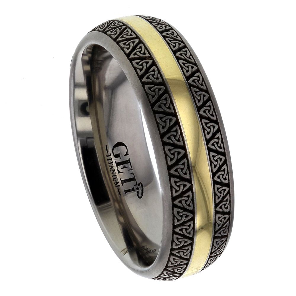 Celtic Court Titanium Ring With 18ct Yellow Gold Yellow Inlay