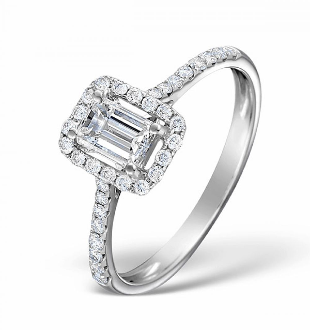 18ct White Gold 0.80ct Shoulder Set Diamond Solitaire Ring