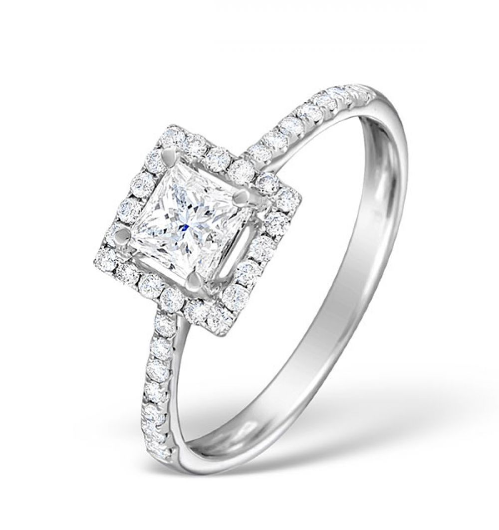 18ct White Gold 0.82ct Shoulder Set Diamond Solitaire Ring