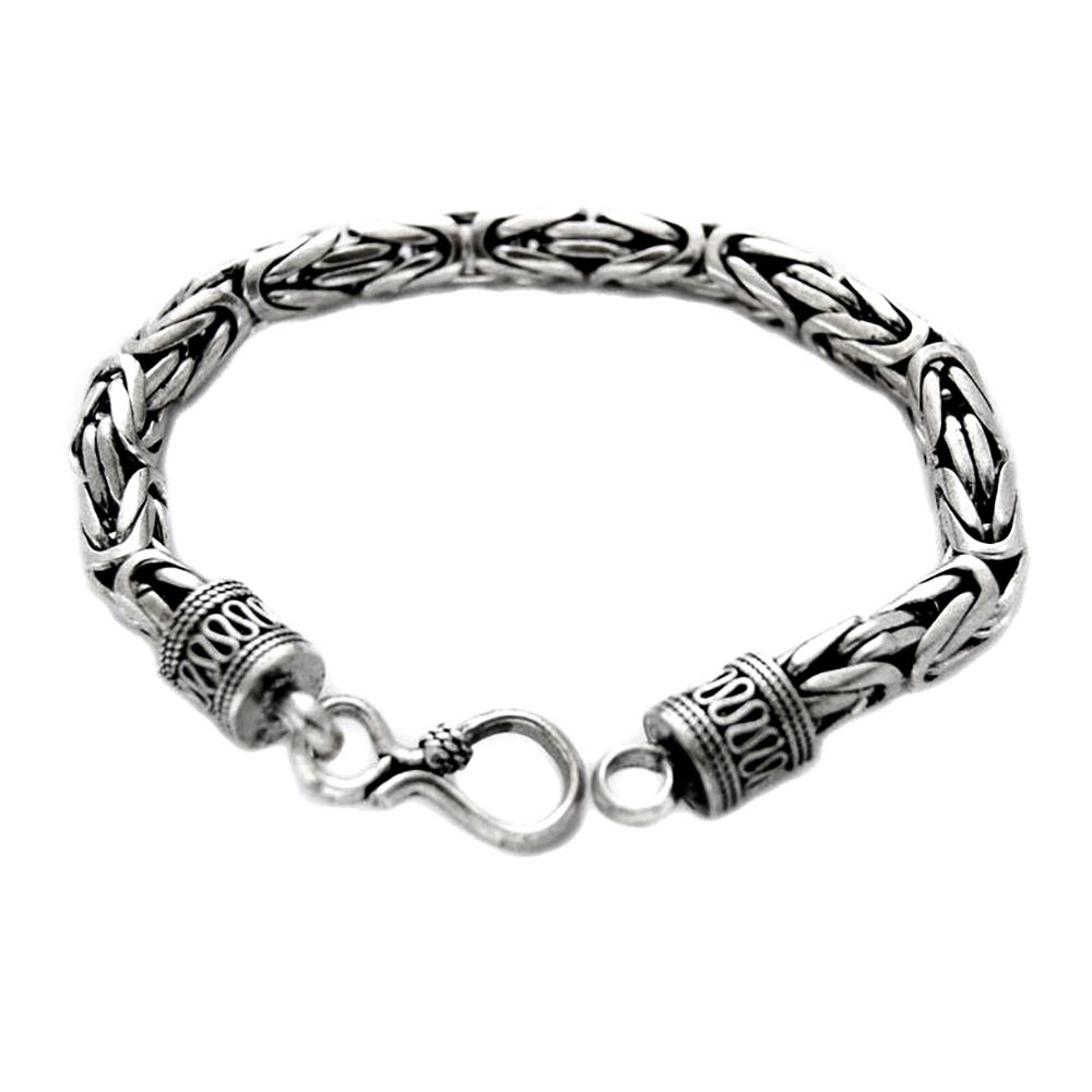 "Men's 8.5"" Heavy 56g Genuine 7mm Thai Solid Silver Bracelet 925 Stamped"