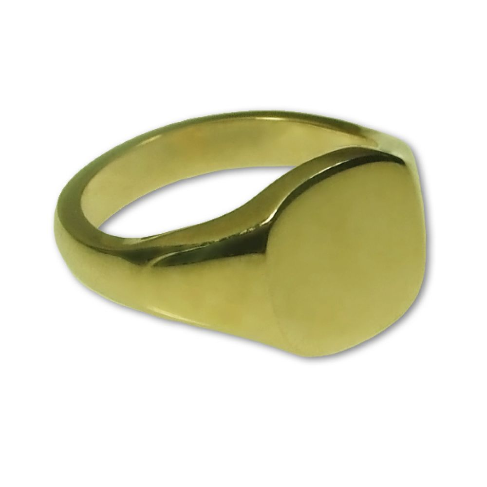 9ct Yellow Gold Cushion shaped Signet Rings 14 x 12mm 7.6g