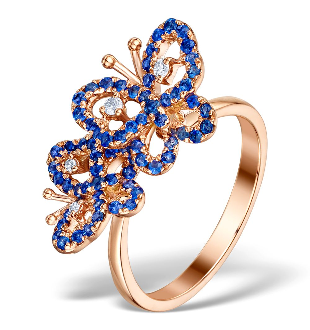 9ct Rose Gold 0.07cts Diamond & 0.70cts Sapphire Cluster Butterfly Ring