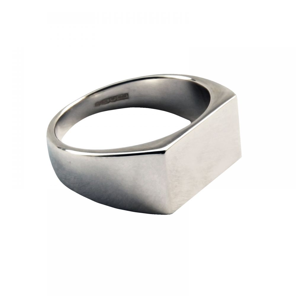 925 Sterling Silver Initial Signet Rings 14 x 9mm 5.1g
