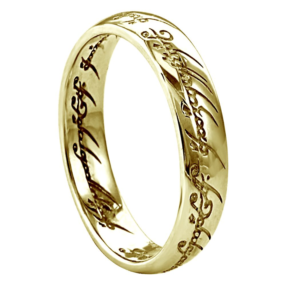 4mm 9ct Yellow Gold Lord Of The Rings Heavy Court Comfort Wedding Rings Bands